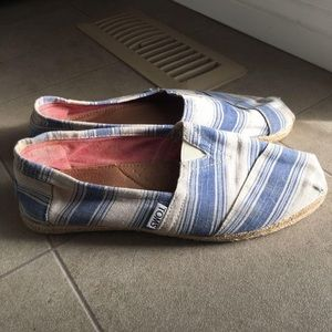 White and blue women's Toms size 7 shoes